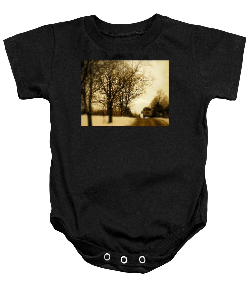 Landscape Baby Onesie featuring the photograph Home From School by Arthur Barnes