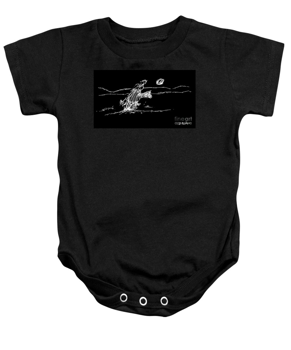 Horse Baby Onesie featuring the digital art Horse And Rider by George Pedro