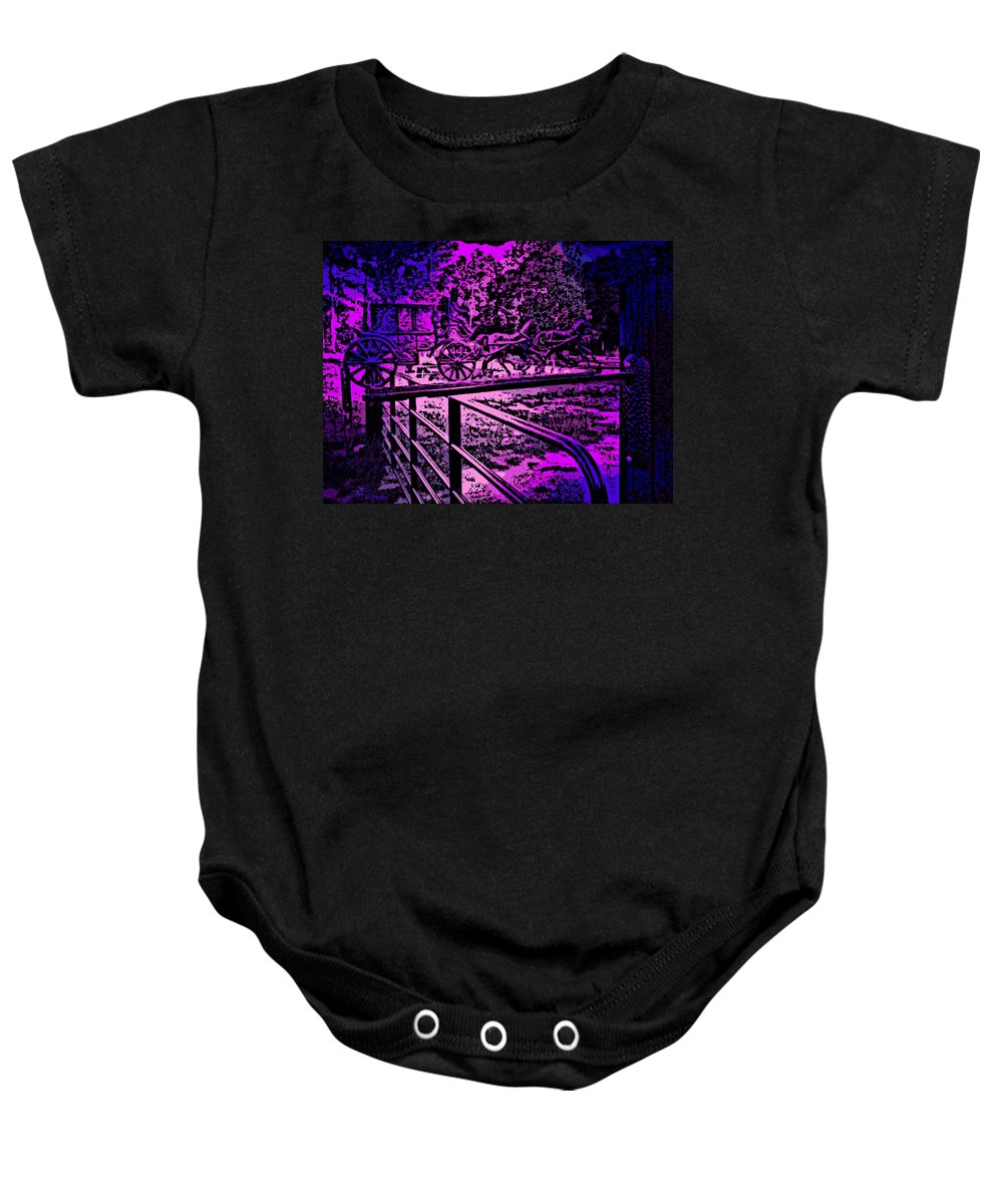 Horse Baby Onesie featuring the photograph Horse Drawn Carriage In The Snow by George Pedro