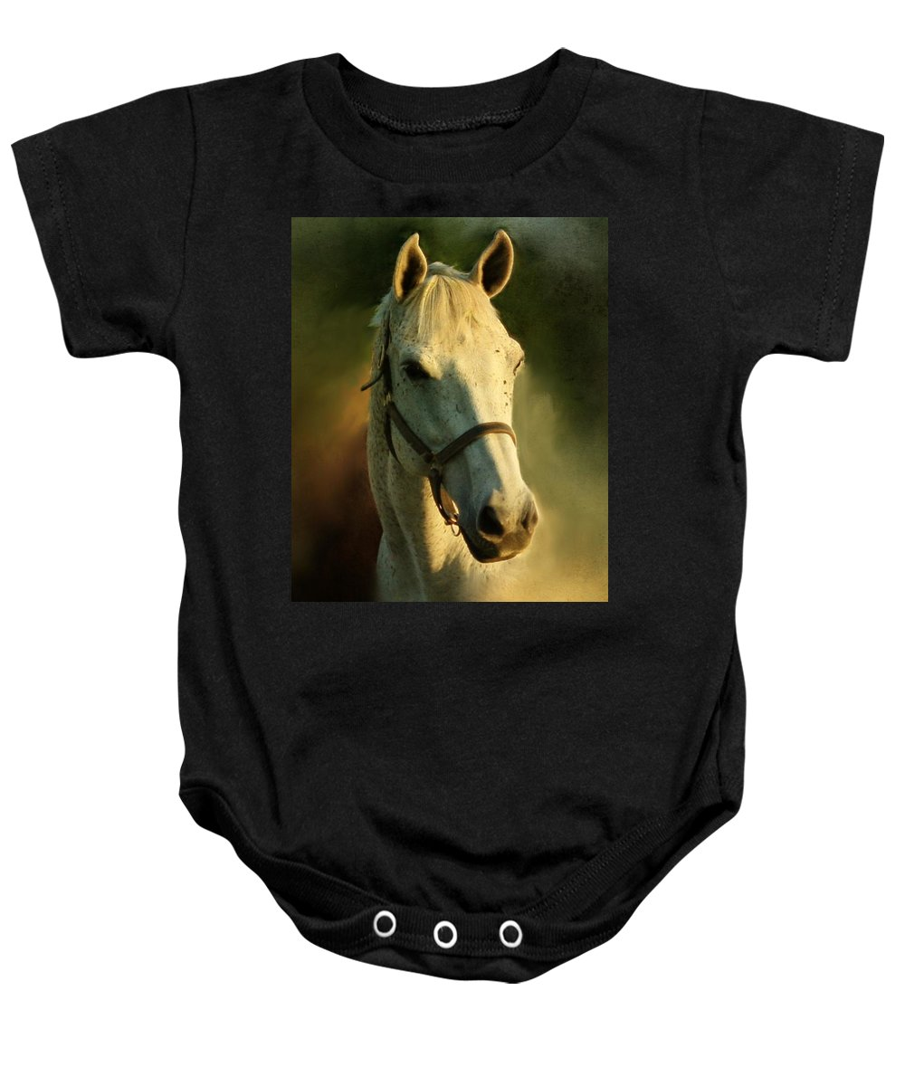 Horse Baby Onesie featuring the painting Horse Head Portriat by George Lai