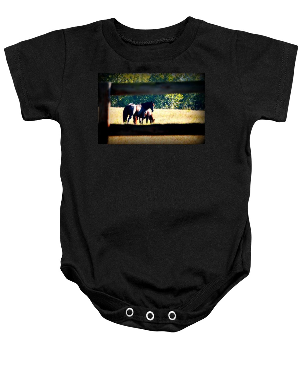 Horse Baby Onesie featuring the photograph Horse Photography by Peggy Franz