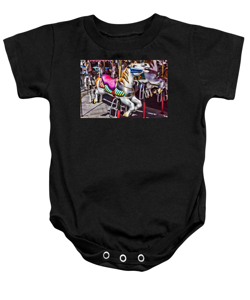 Wild Carrousel Horses Baby Onesie featuring the photograph Horse Ride by Garry Gay