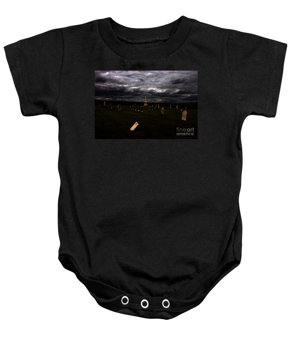 Burial Baby Onesie featuring the photograph Hurt by Alan Look