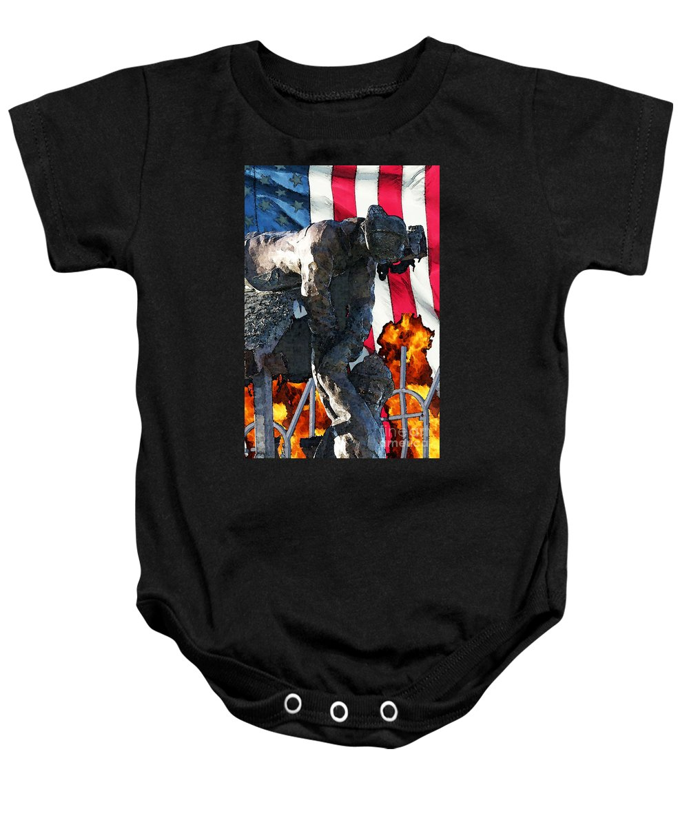 Fire Department Baby Onesie featuring the digital art In Remembrance Of 911 by Tommy Anderson