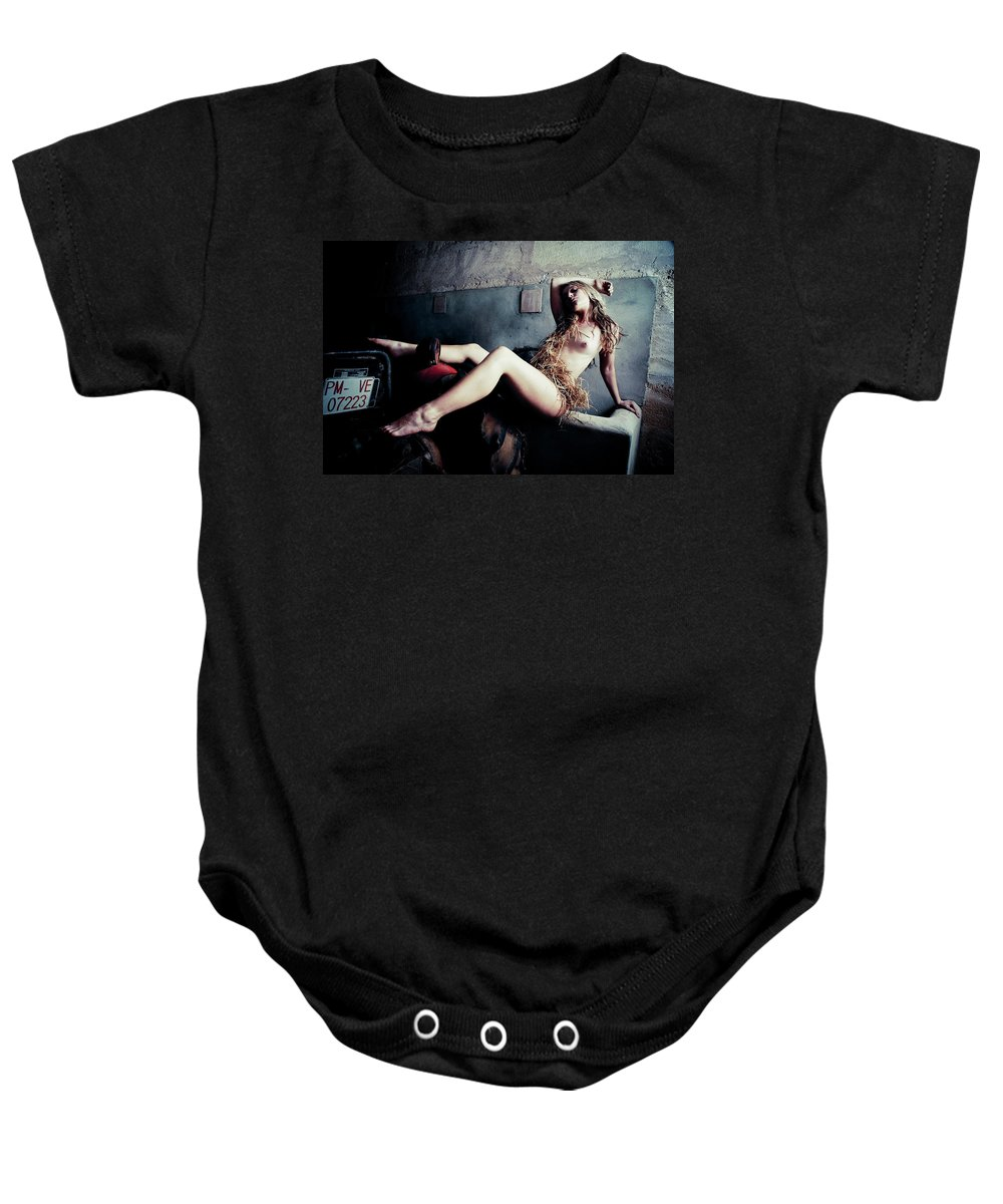 Color Baby Onesie featuring the photograph In The Barn by Olivier De Rycke