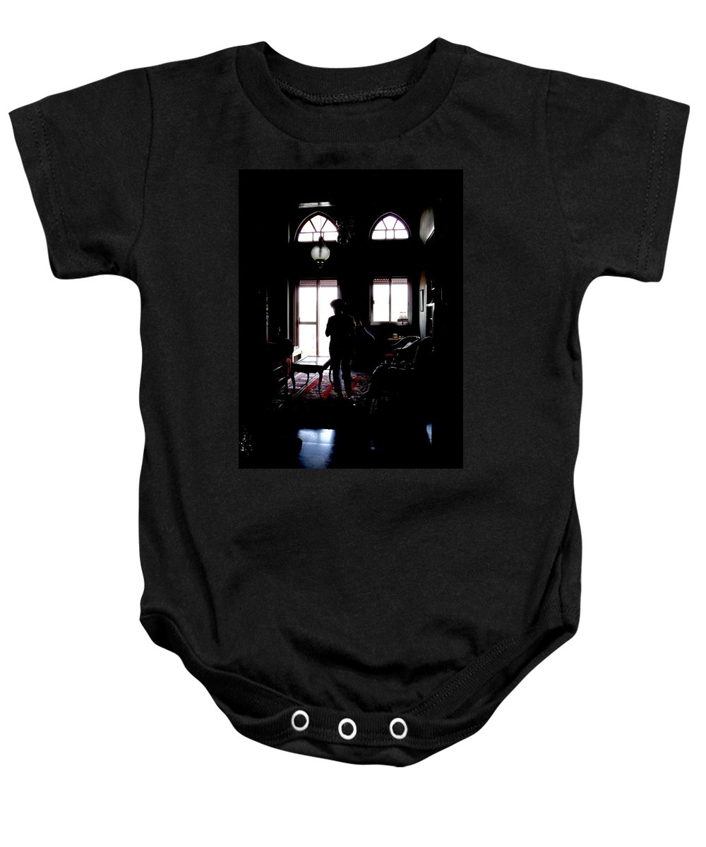 Shadows Baby Onesie featuring the photograph In The Shadows by Marwan George Khoury
