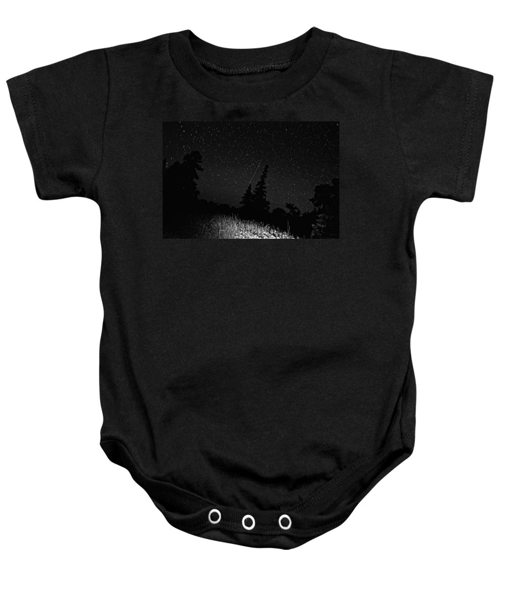 Galaxy Baby Onesie featuring the photograph Into The Night Monochrome by Steve Harrington