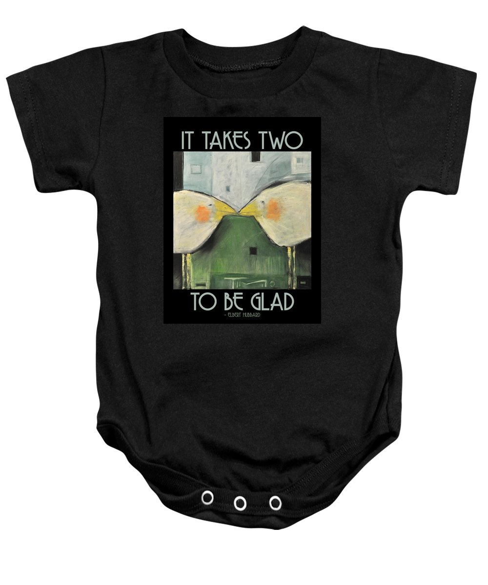 Birds Baby Onesie featuring the painting It Takes Two - Beak To Beak by Tim Nyberg