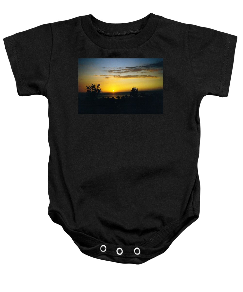 Jamaica Baby Onesie featuring the photograph Jamaica Sunset by Debbie Levene