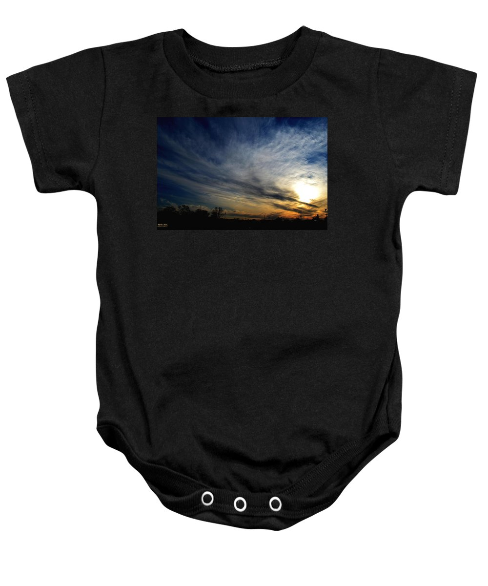 Sunset Baby Onesie featuring the photograph January Sunset 2012 by Maria Urso