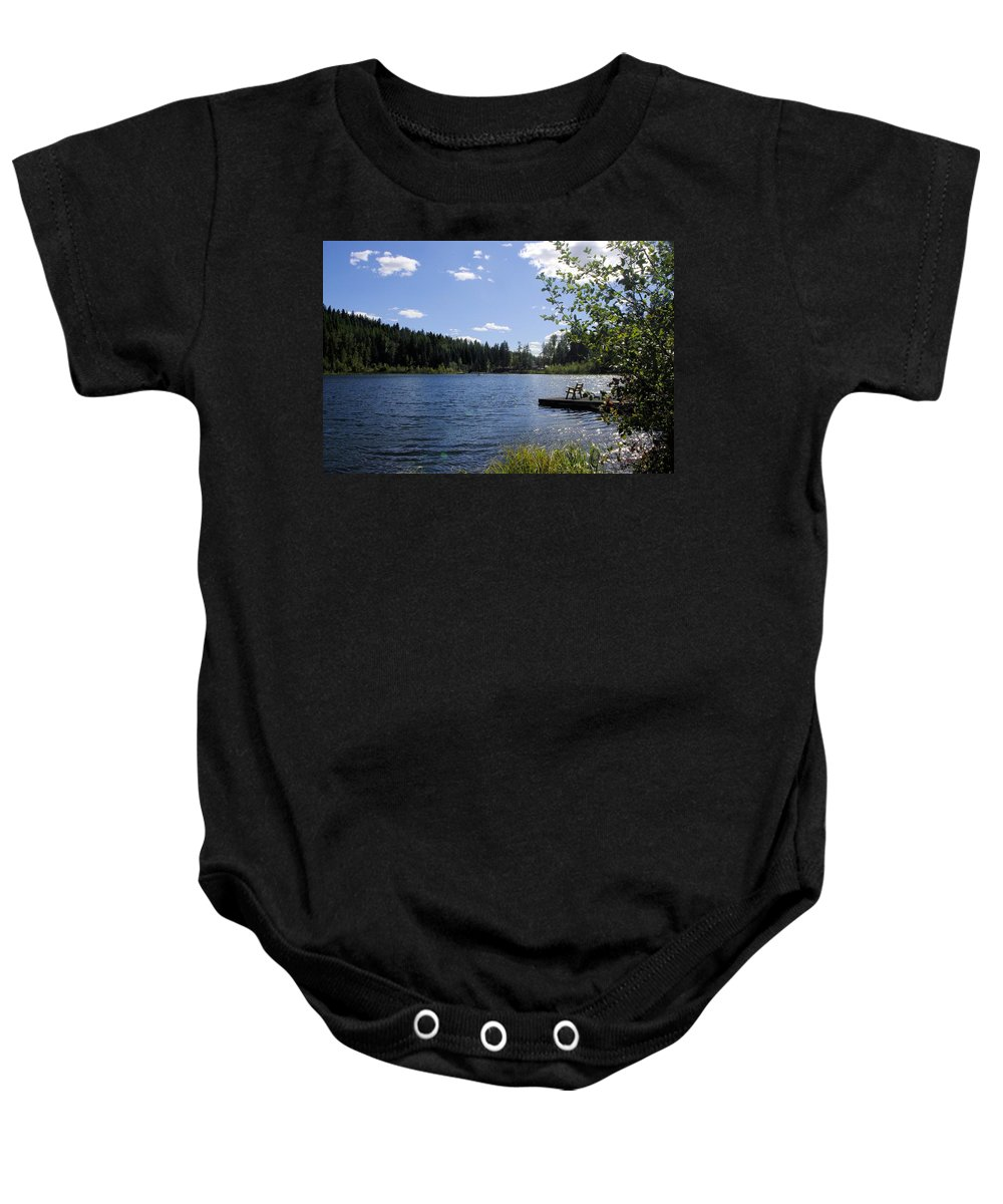 Baby Onesie featuring the photograph Jewel Lake Beach Chair by John Greaves