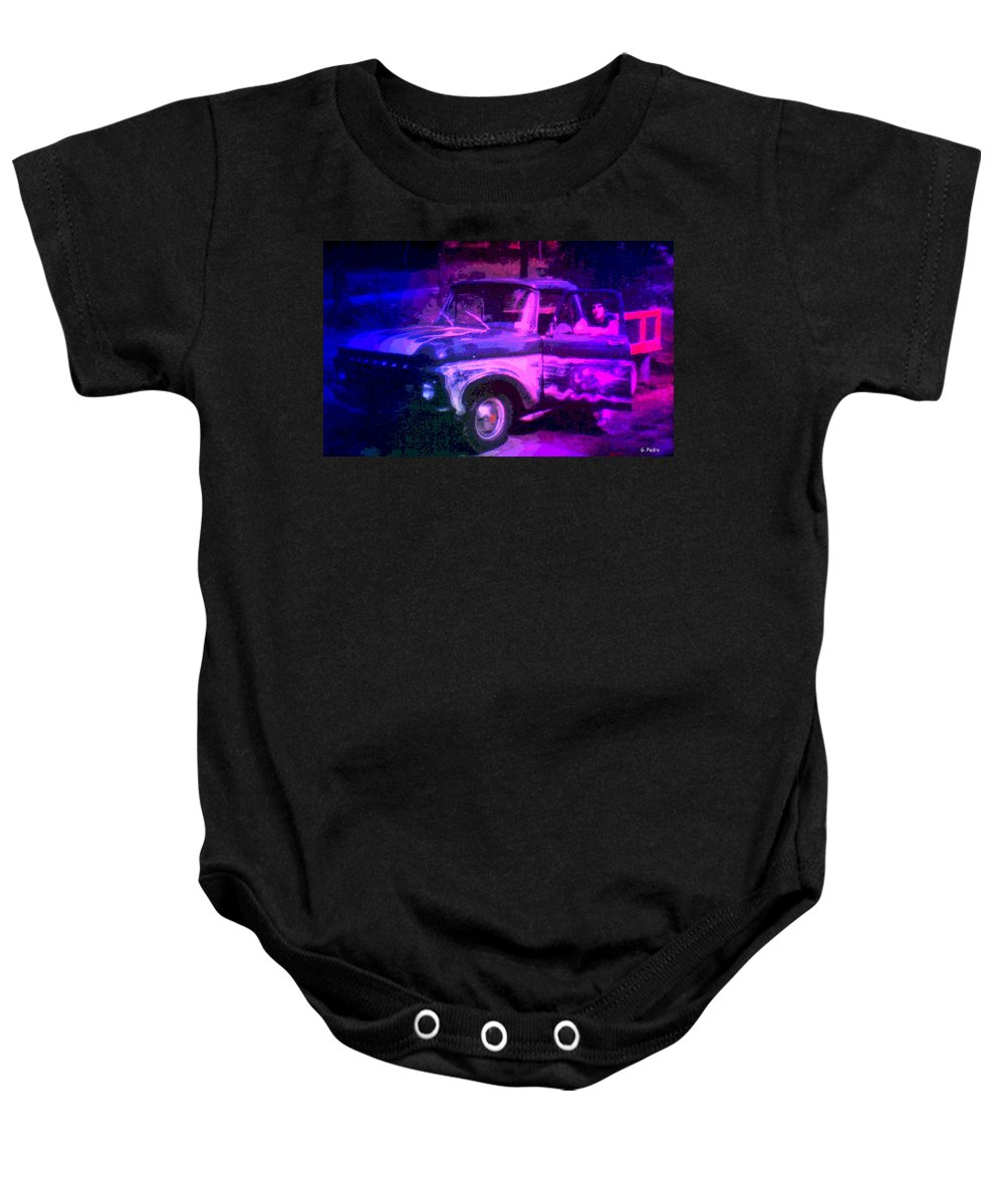 Pontiac Baby Onesie featuring the photograph Joe And The Pontiac Truck by George Pedro