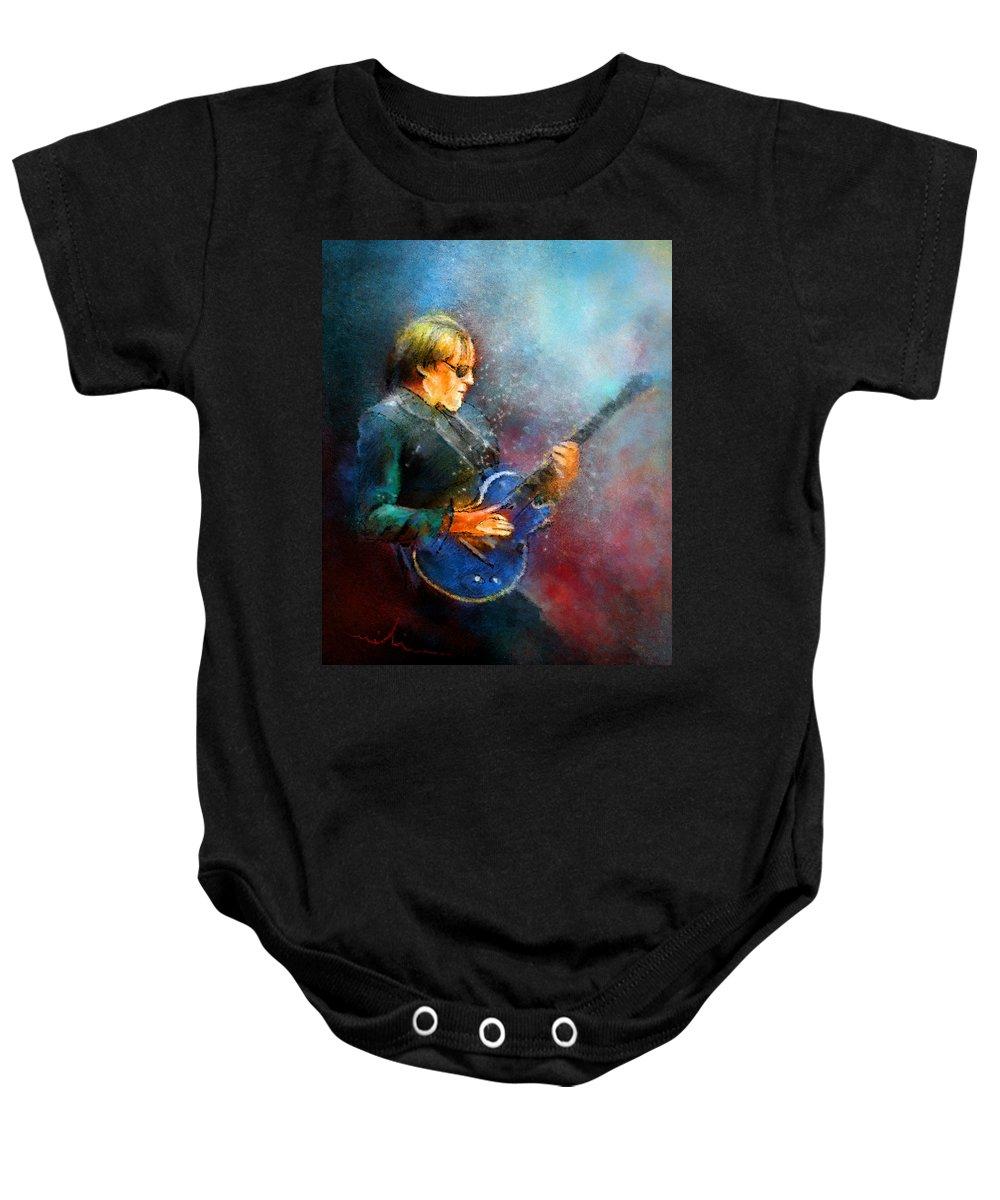 Music Baby Onesie featuring the painting Joe Bonamassa 04 by Miki De Goodaboom