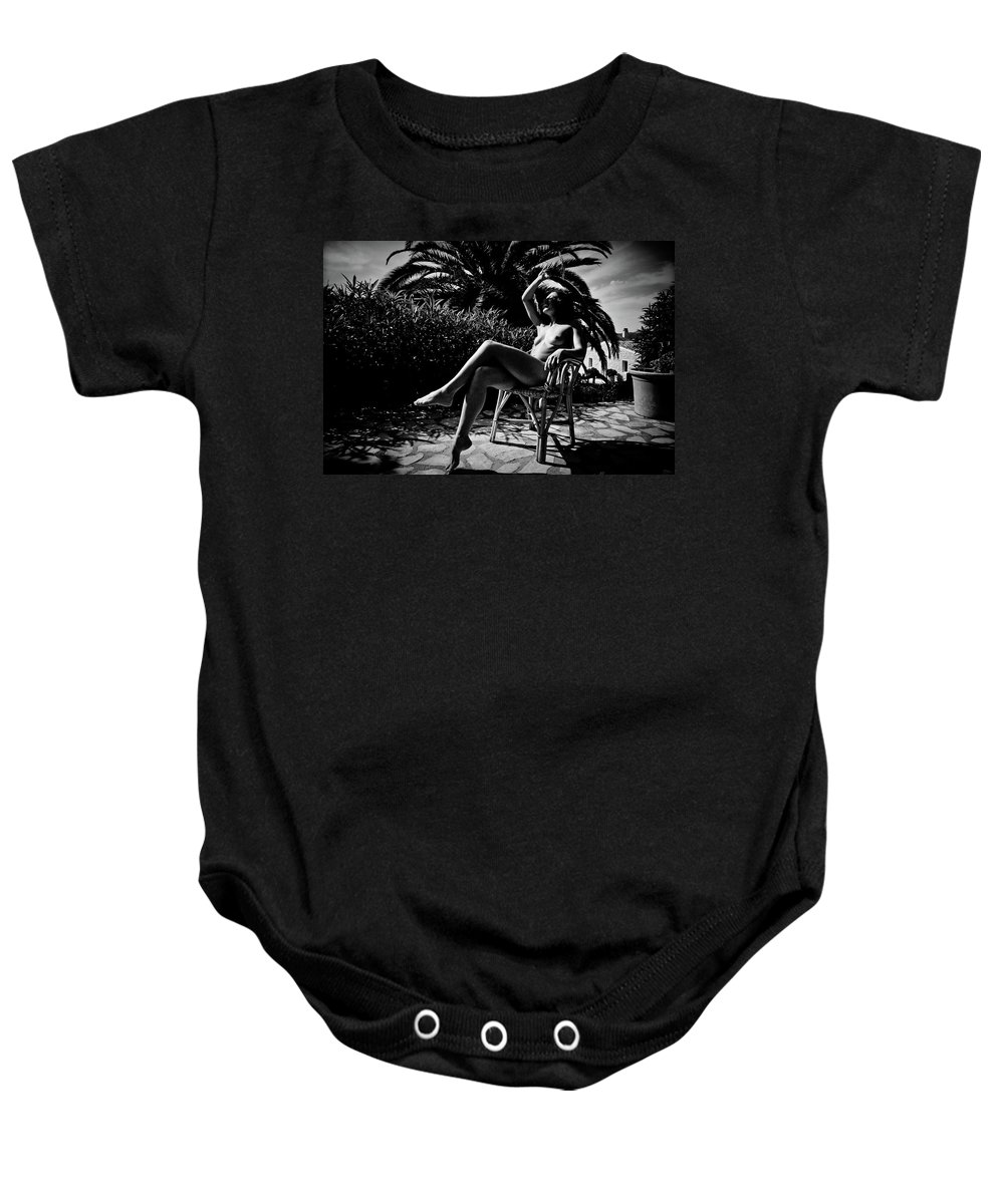Black And White Baby Onesie featuring the photograph Joy by Olivier De Rycke