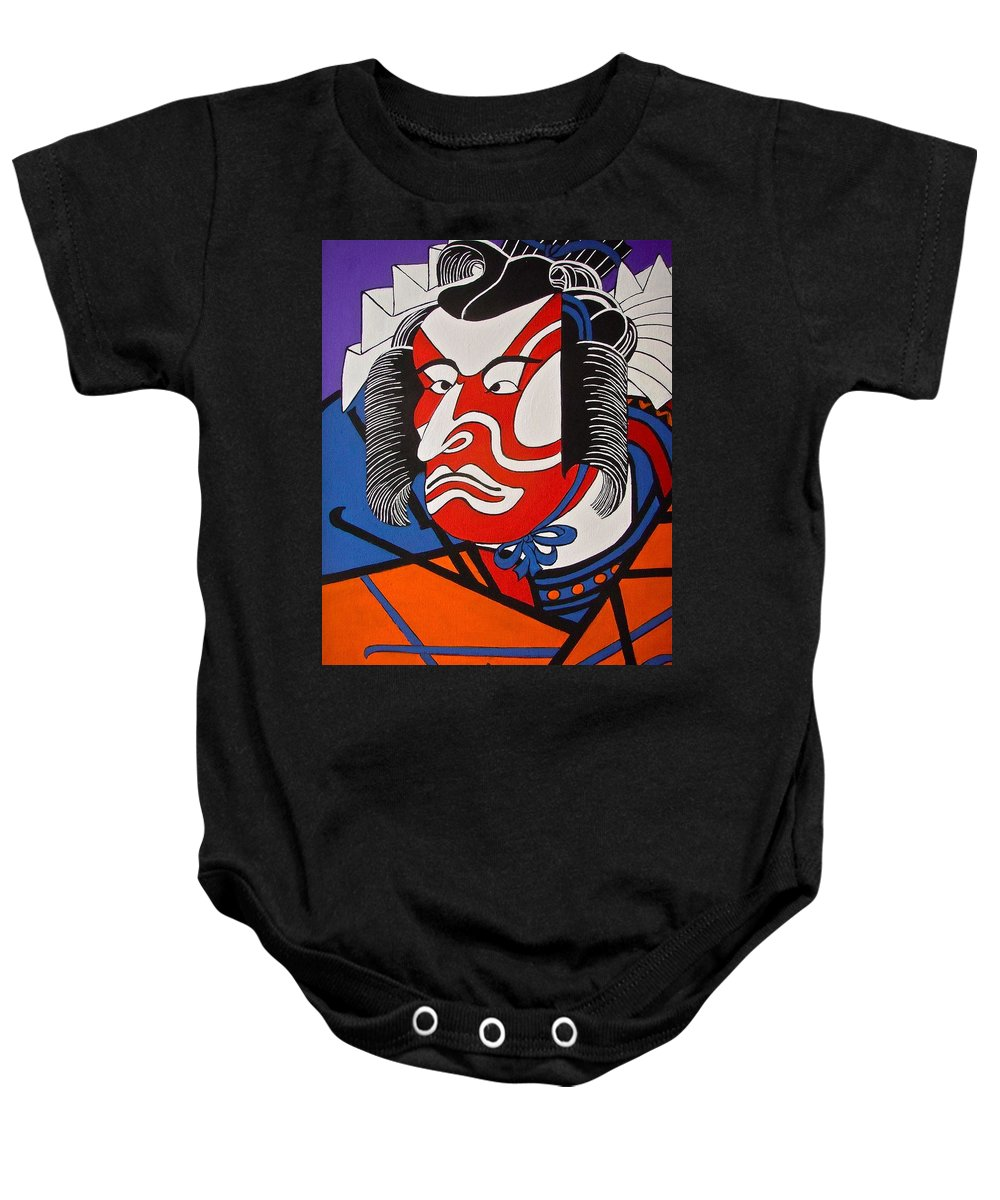 Japanese Baby Onesie featuring the painting Kabuki Actor 2 by Stephanie Moore