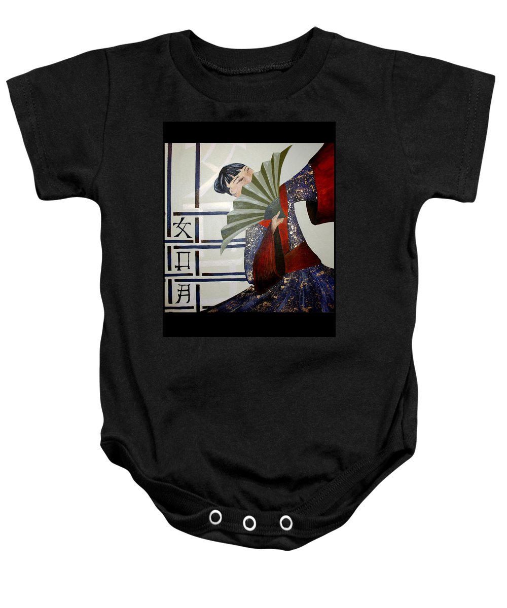 Japanese Baby Onesie featuring the painting Kisaragi by Kate Fortin