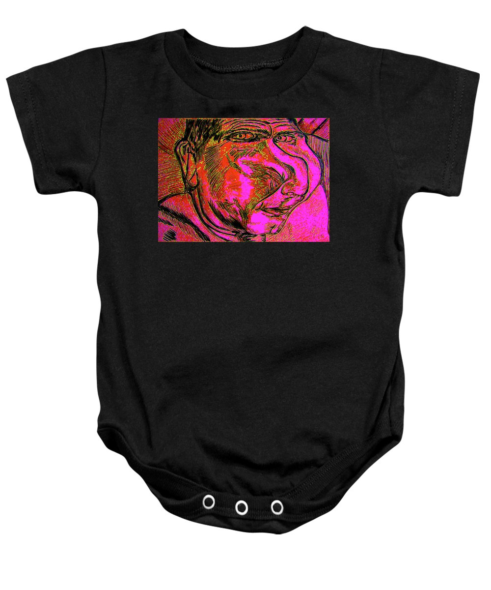 Portraits Baby Onesie featuring the drawing KJ by Karen Elzinga