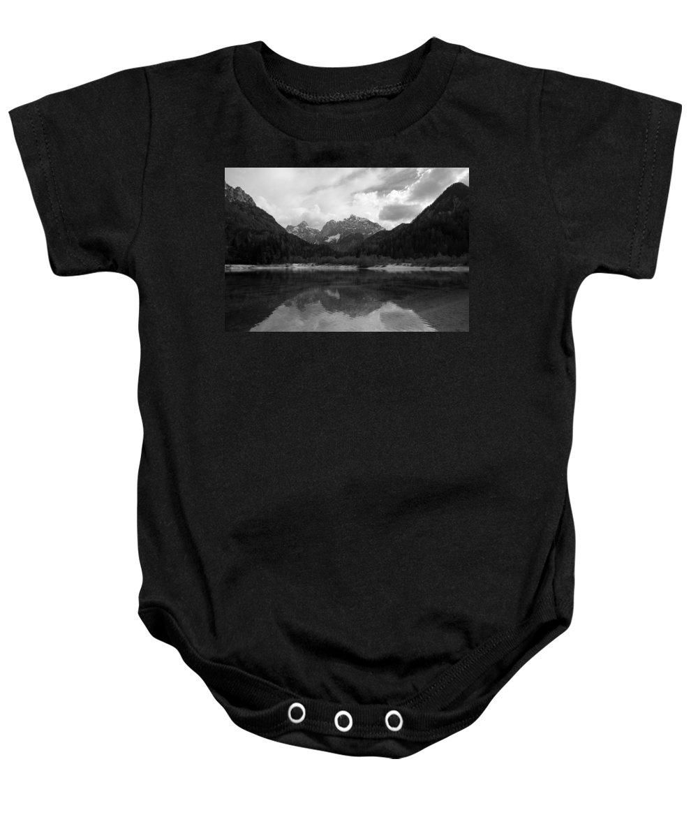 Kranjska Gora Baby Onesie featuring the photograph Kranjska Gora In Black And White by Ian Middleton