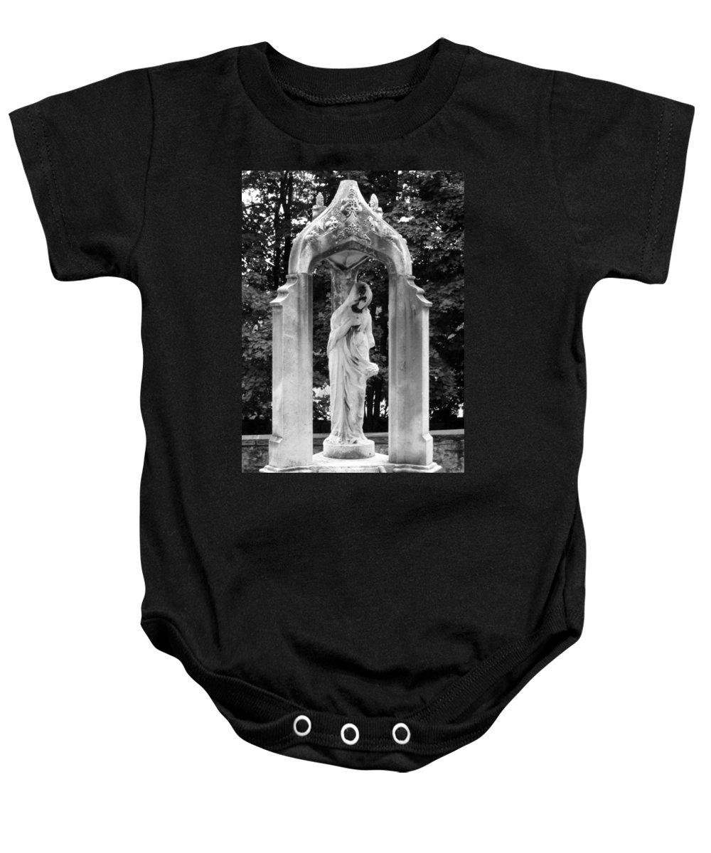 Black And White Baby Onesie featuring the photograph Lady Of 1886 by Michele Nelson