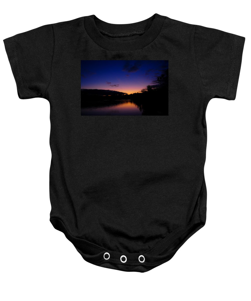 Lake Baby Onesie featuring the photograph Lake Side Sunset by Christofer Johnson