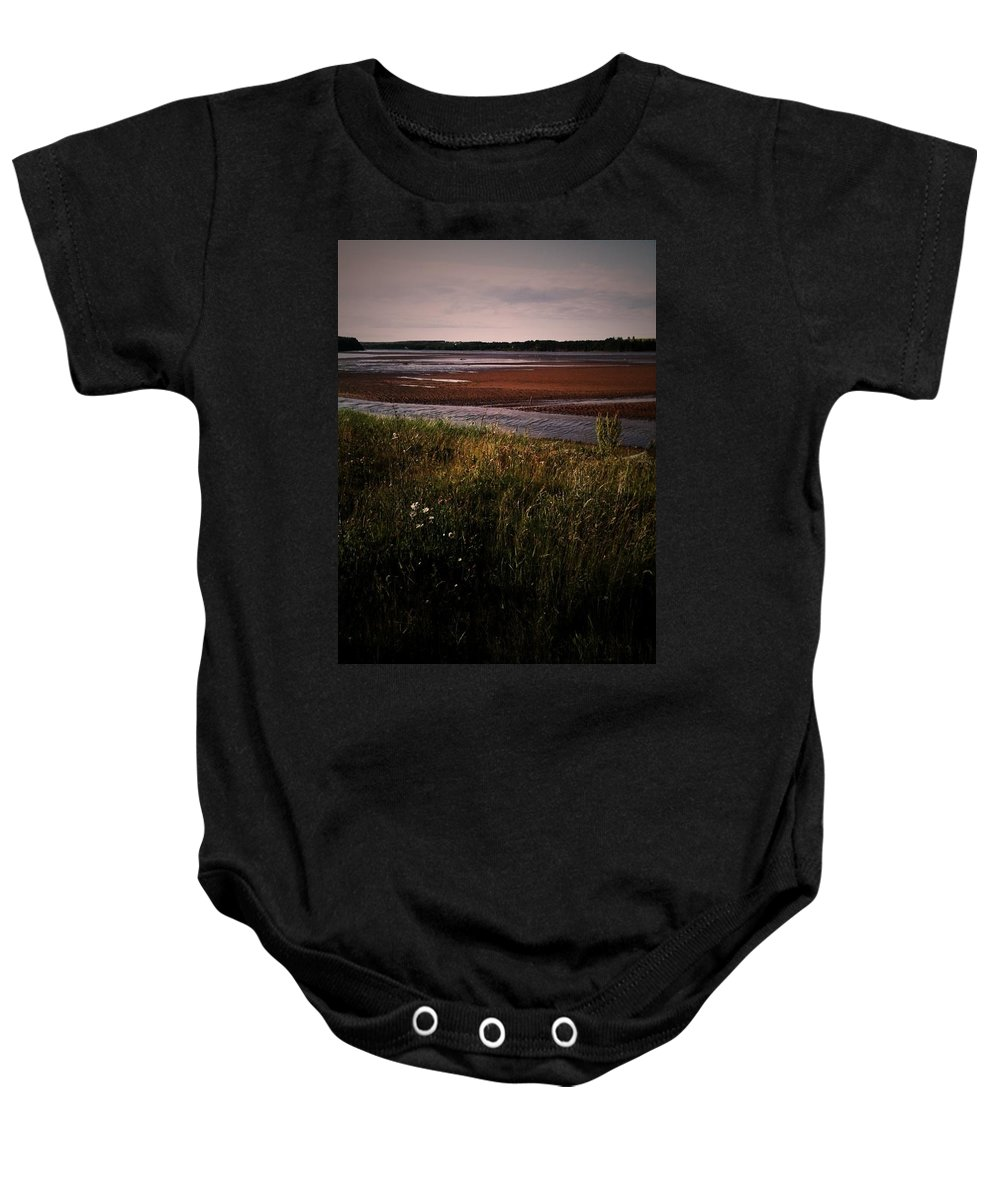 Grass Baby Onesie featuring the photograph Land And Sea by Valerie Nolan