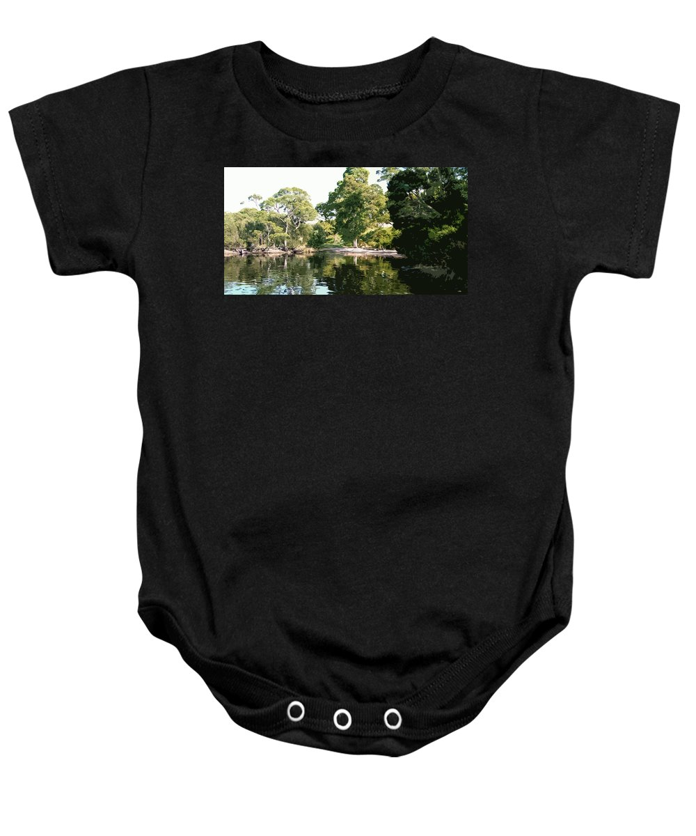 River Baby Onesie featuring the digital art Landscape Tree Reflections by Phill Petrovic
