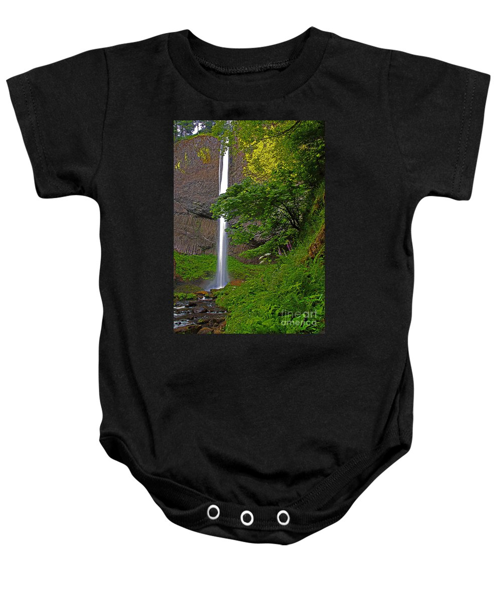 Oregon Baby Onesie featuring the photograph Latourell Falls Oregon - Posterized by Rich Walter
