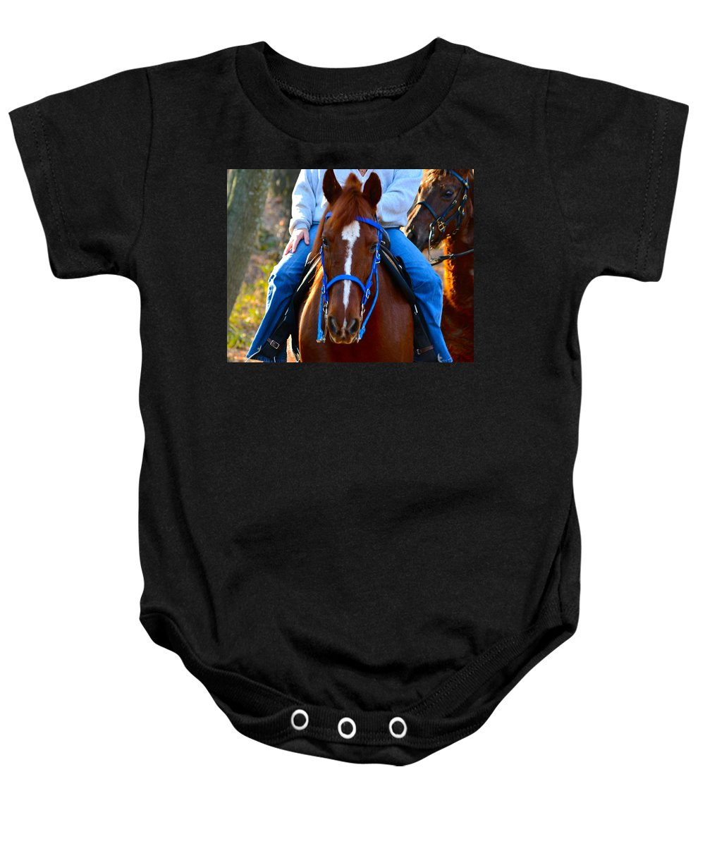 Horses Baby Onesie featuring the photograph Lead Horse by Bill Owen