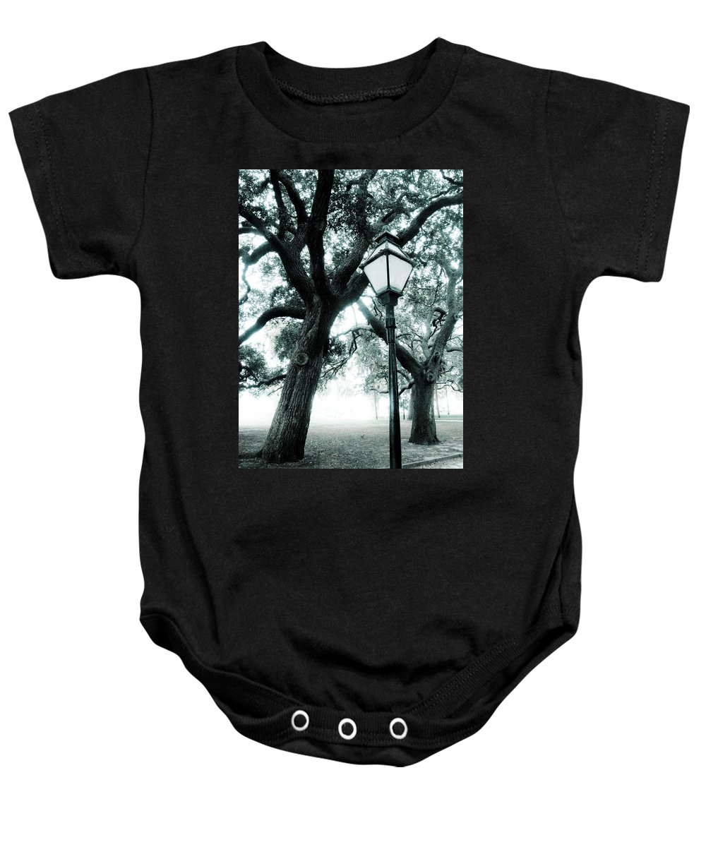 Lamp Post Baby Onesie featuring the photograph Lead The Way by Jessica Brawley