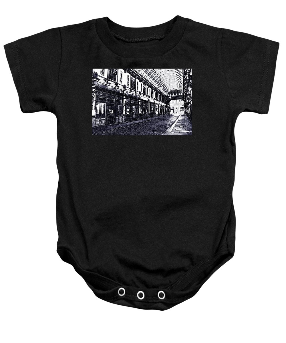 Leadenhall Baby Onesie featuring the digital art Leadenhall Market by David Pyatt