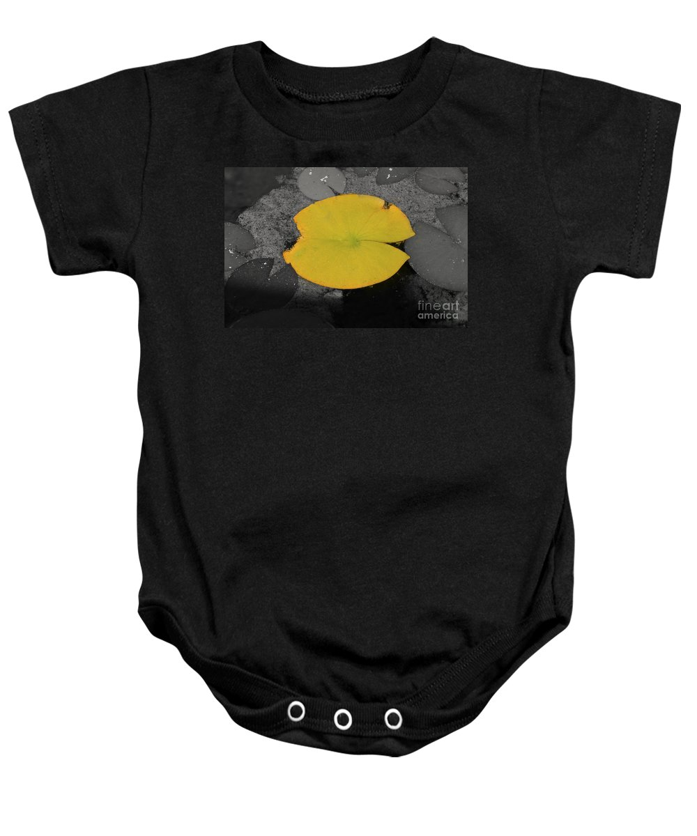 Fine Art Baby Onesie featuring the photograph Leaf On A Pond II by Donna Greene