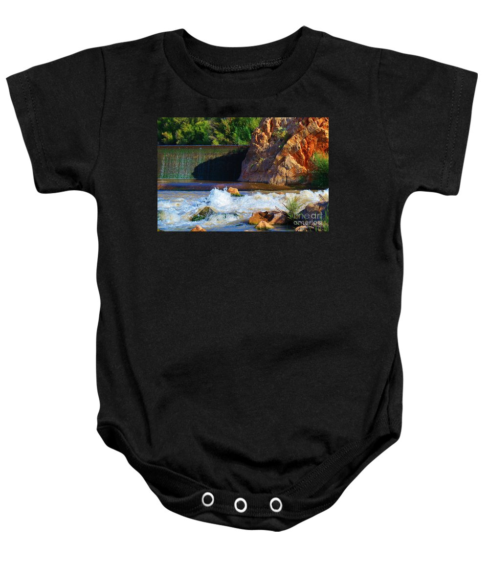 Roena King Baby Onesie featuring the photograph Leasburg Dam New Mexico by Roena King