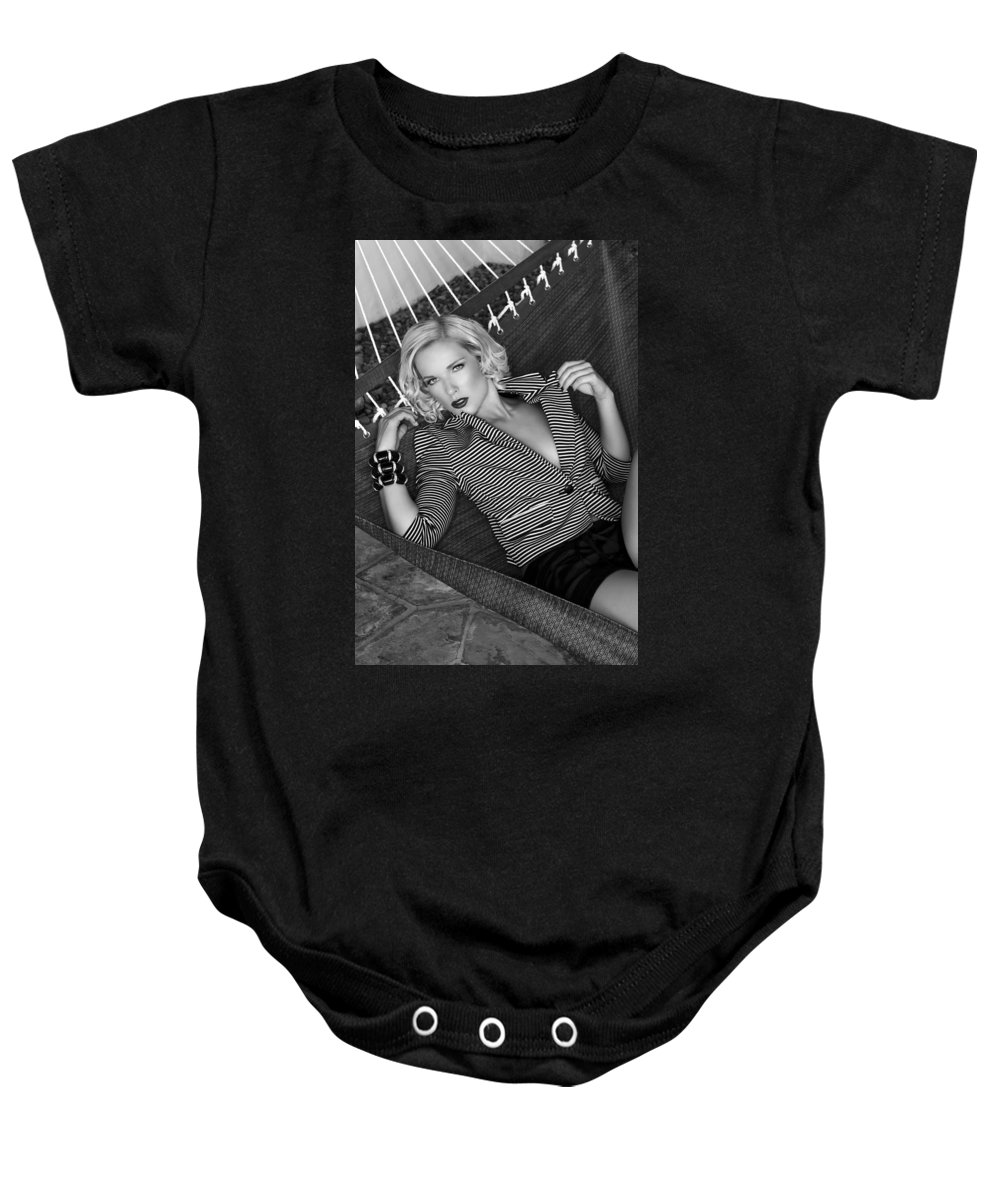 Female Baby Onesie featuring the photograph Leisure Class Bw by William Dey