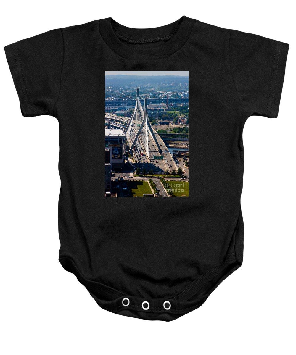 Aerial Baby Onesie featuring the photograph Leonard Yakim Bunker Hill Memorial Bridge by Thomas Marchessault