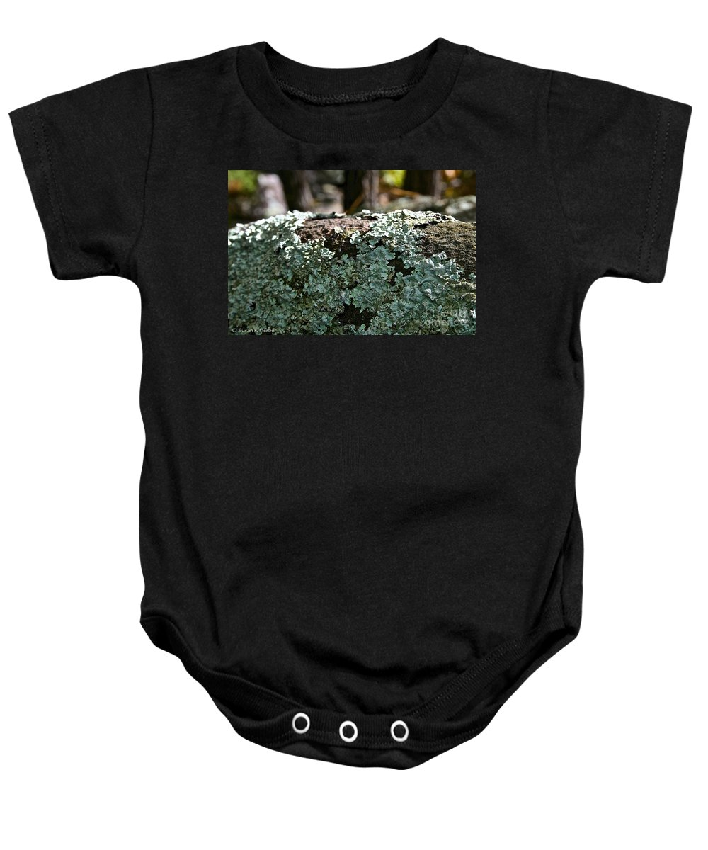 Outdoors Baby Onesie featuring the photograph Lichens Lace by Susan Herber