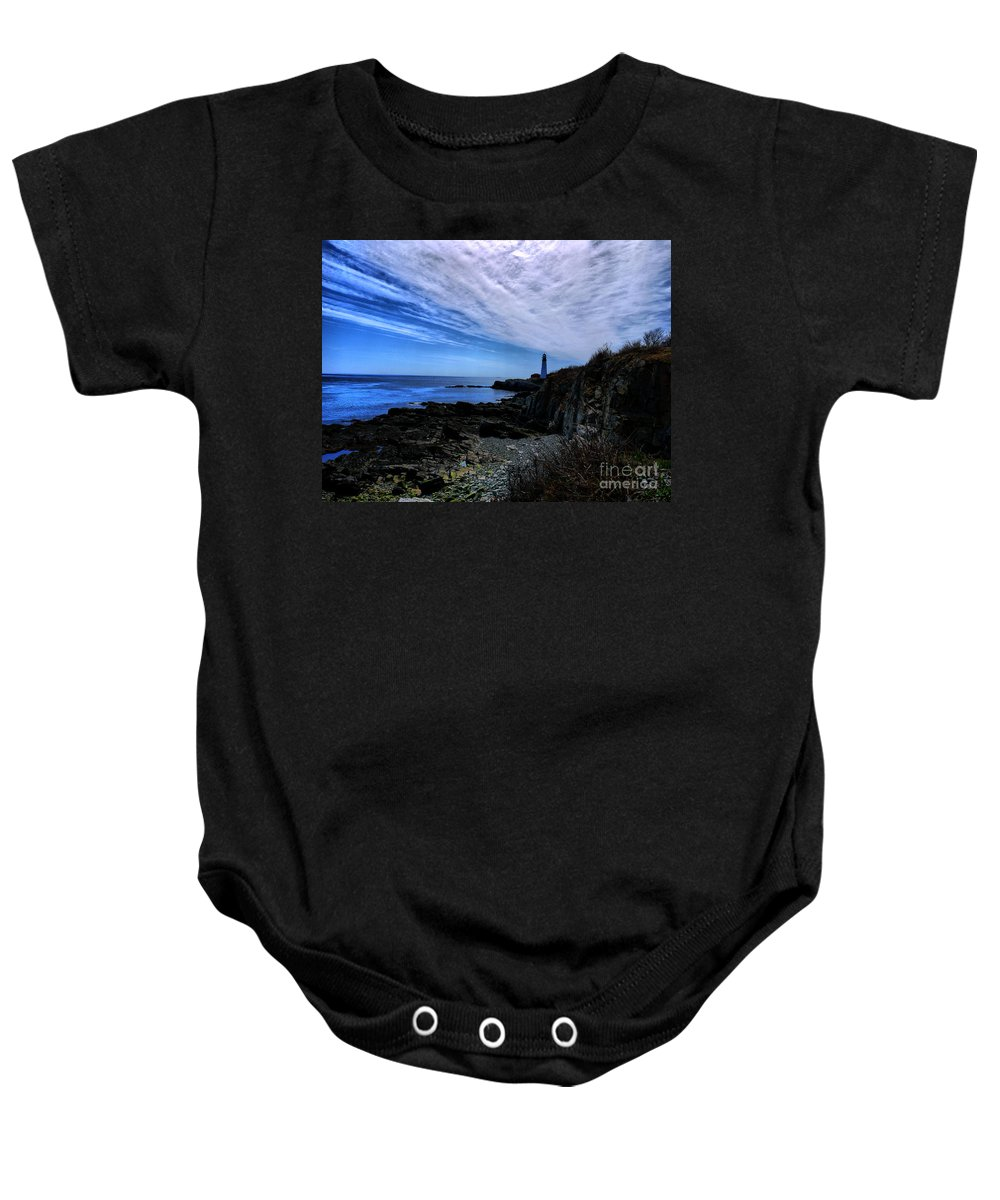 Lighthouse Baby Onesie featuring the photograph Lighthouse Sky by Nancie DeMellia