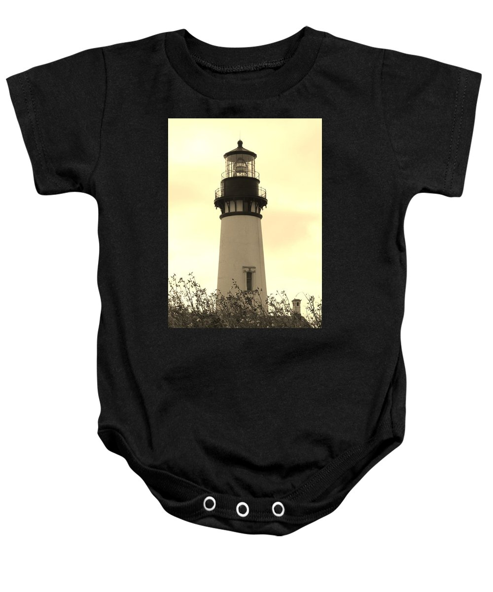 Yaquina Bay Lighthouse Baby Onesie featuring the photograph Lighthouse Tranquility by Athena Mckinzie