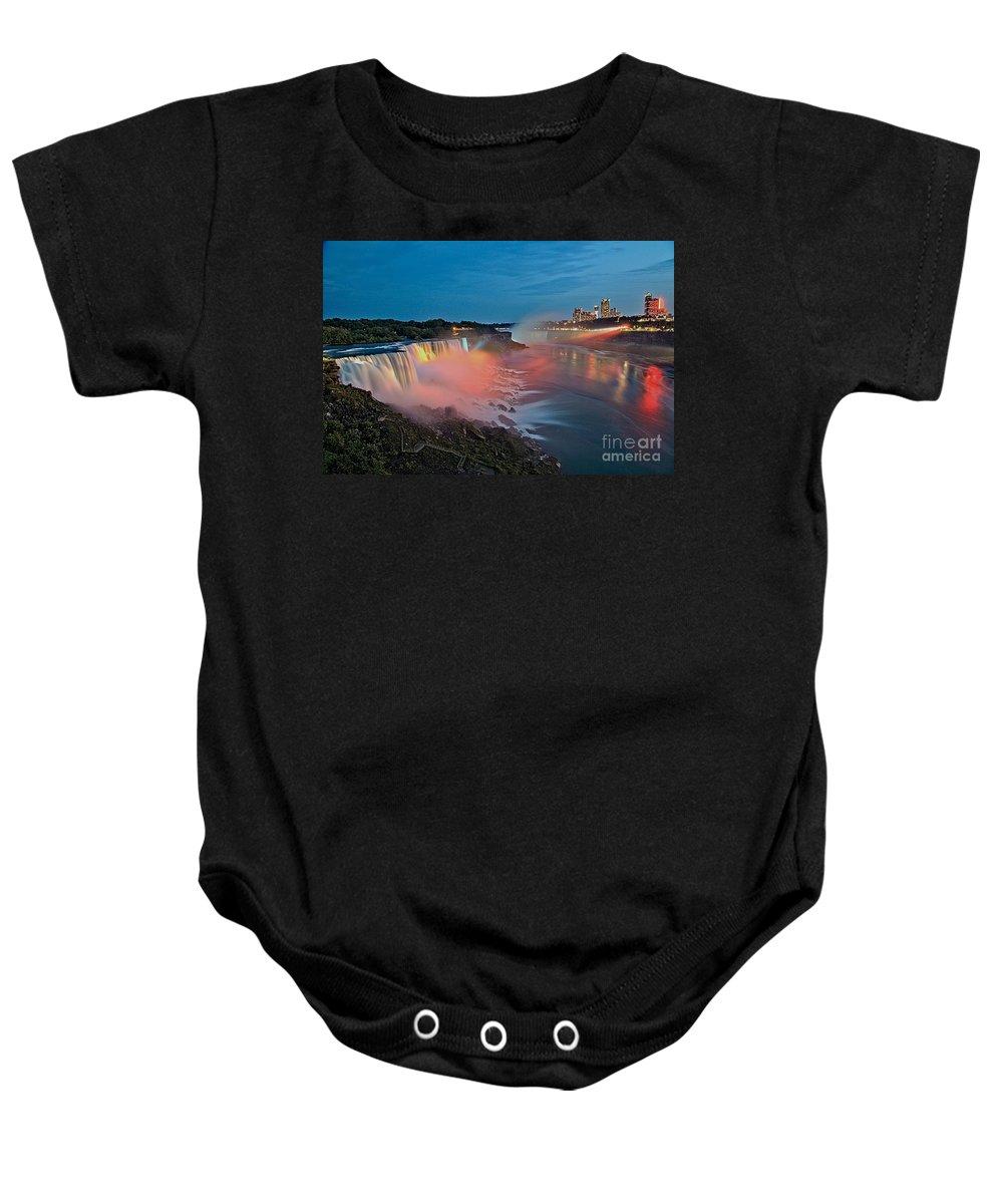 Niagara Falls Baby Onesie featuring the photograph Lights On Niagara by Adam Jewell