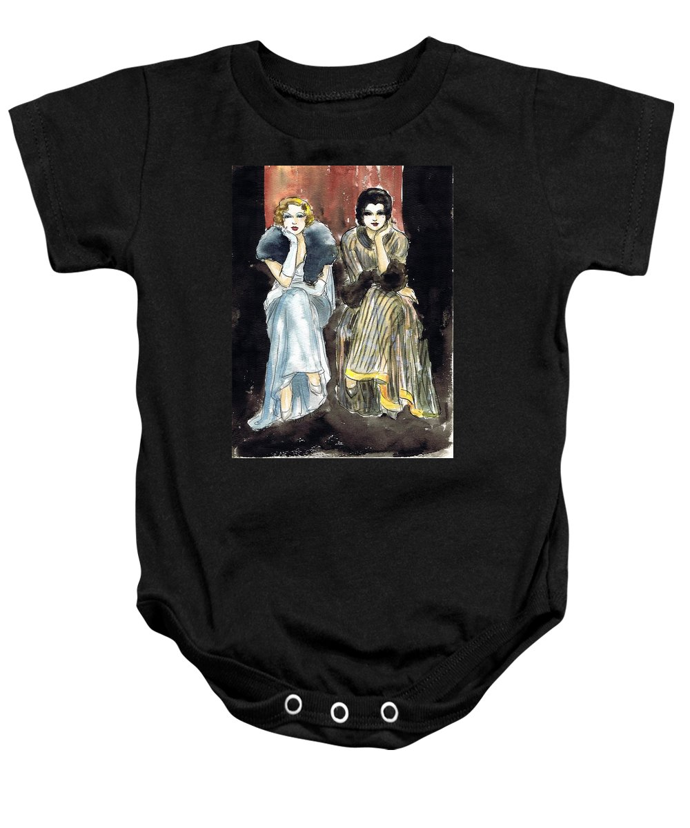 Nostalgia Baby Onesie featuring the drawing Lilyan And Kay 2 by Mel Thompson