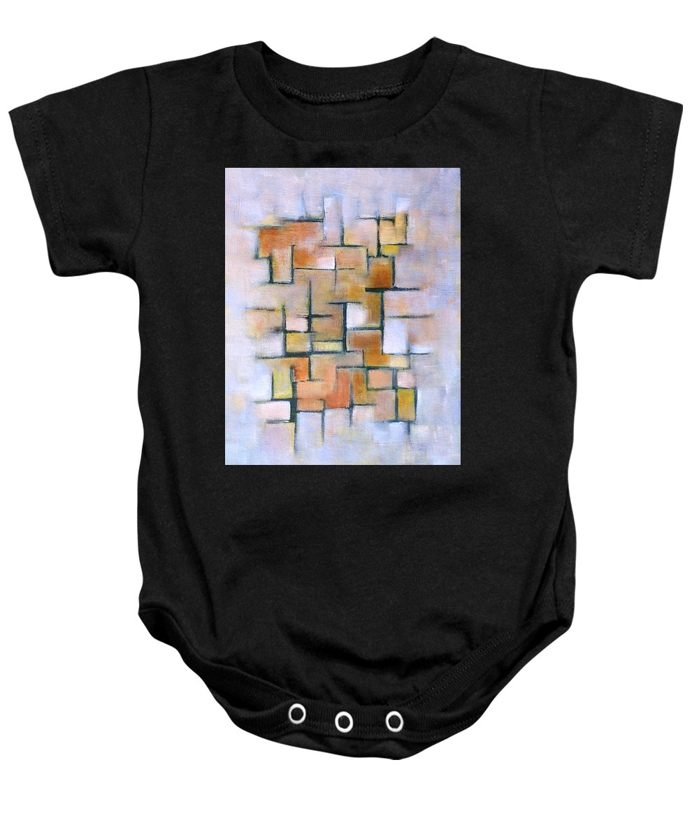 Gold Baby Onesie featuring the painting Line Series by Patricia Cleasby