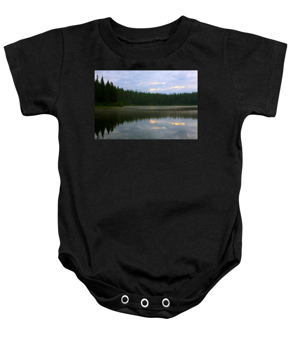 Lion Lake Baby Onesie featuring the photograph Lion Lake Montana Sunrise by Karon Melillo DeVega