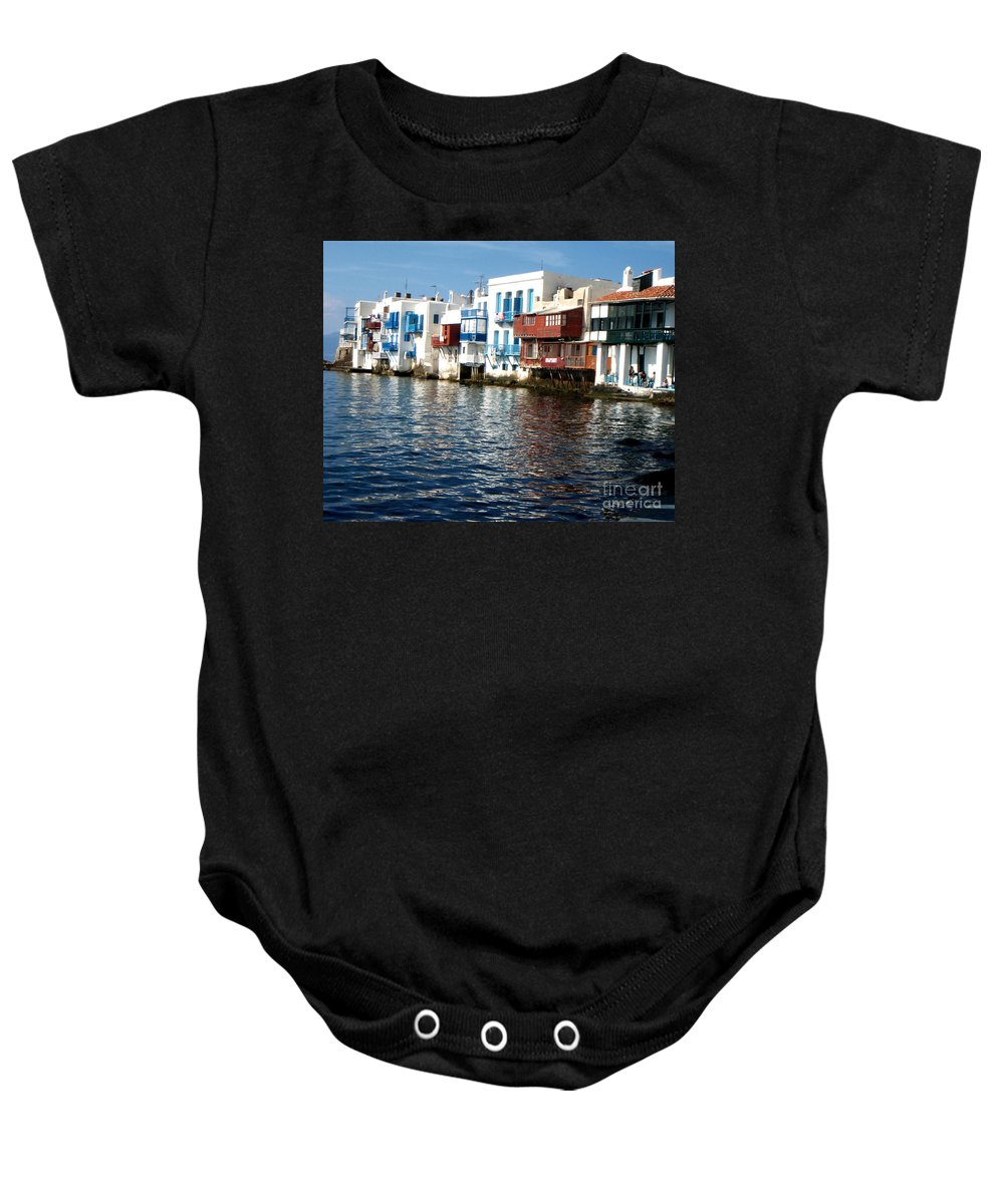 Mykonos Greece Baby Onesie featuring the photograph Little Venice by Rebecca Margraf