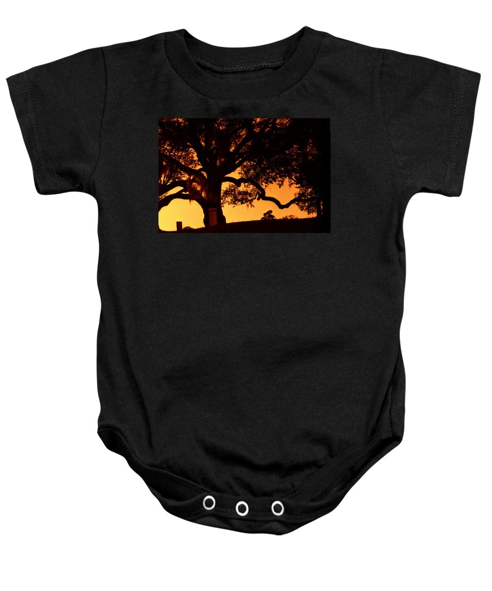 Louisiana Baby Onesie featuring the photograph Live Oak- Cemetery- Natchez Mississippi by Doug Duffey
