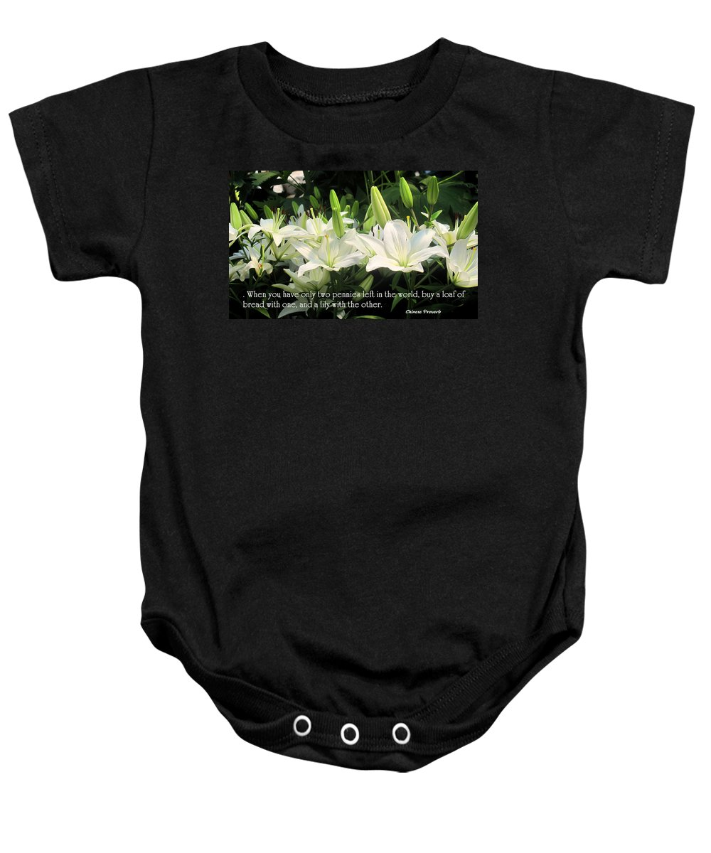 Loaf Baby Onesie featuring the photograph Loaf And Lilly by Ian MacDonald