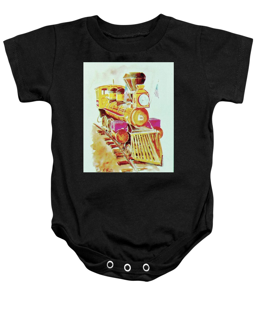 Yellow Locomotive Old General Cowcatcher Baby Onesie featuring the painting Locomotive by Frank Hunter