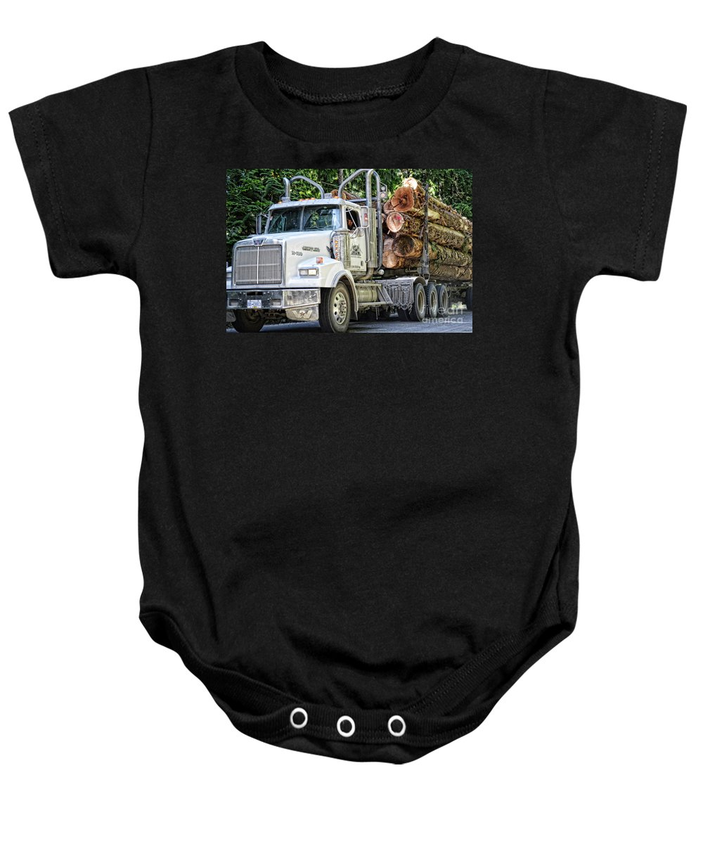 Ocean Baby Onesie featuring the photograph Logging Truck by Traci Cottingham