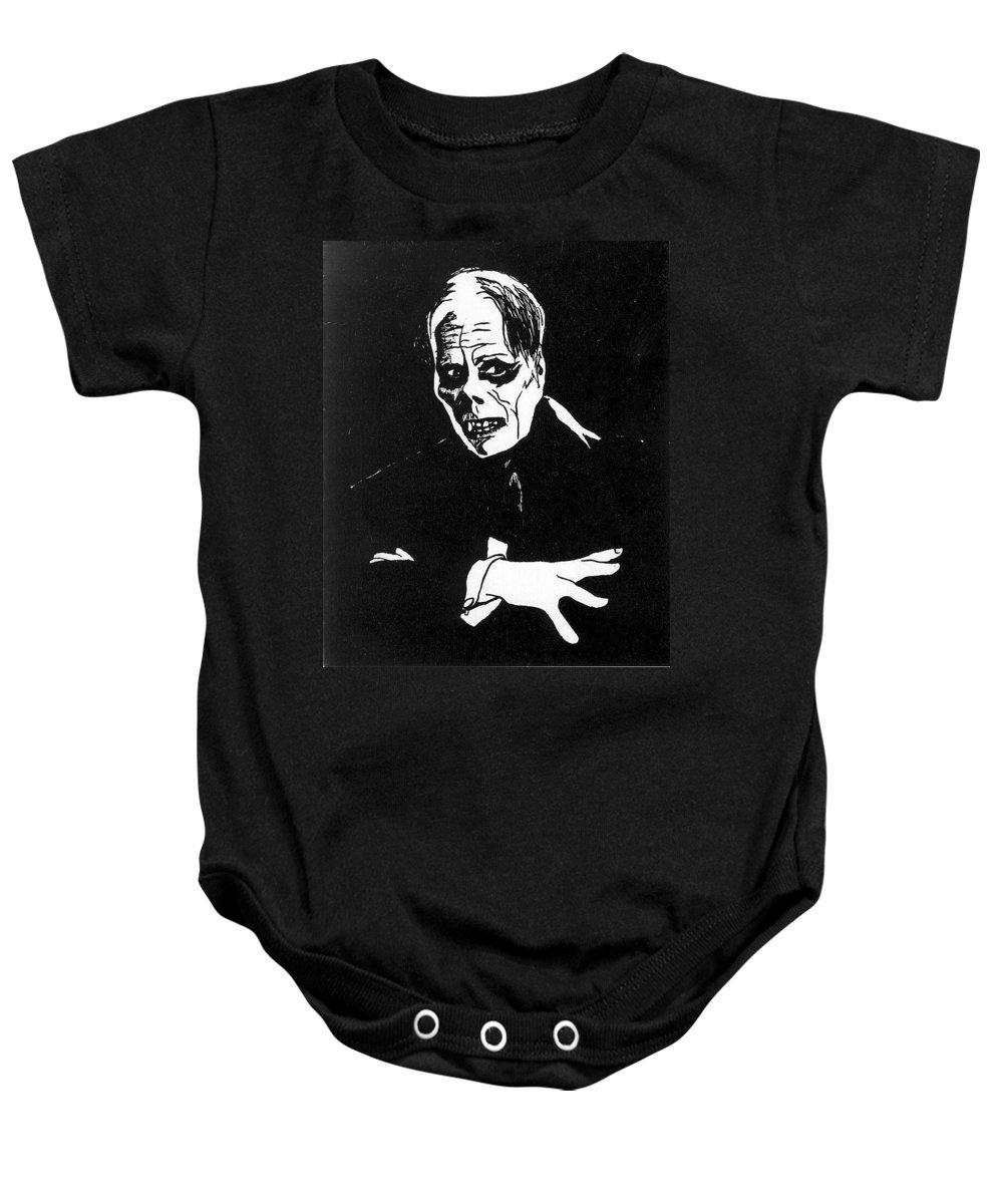 Portraits Baby Onesie featuring the drawing Lon Chaney As The Phantom by William Beyer