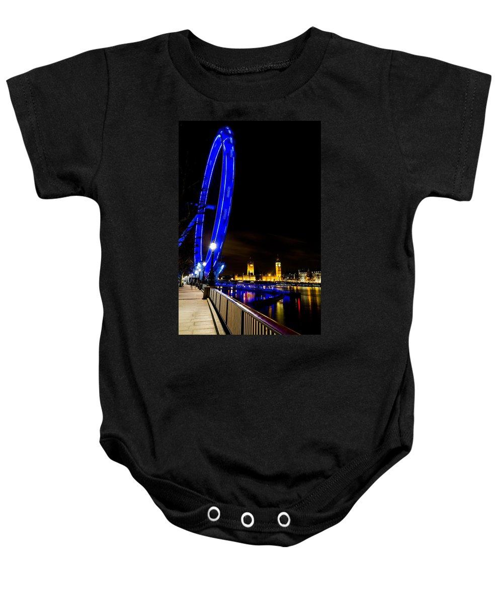 London Eye Baby Onesie featuring the photograph London Eye And London View by David Pyatt