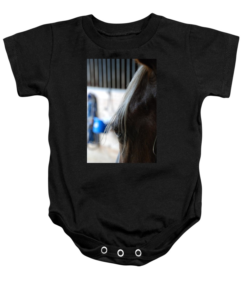 Horse Eye Baby Onesie featuring the photograph Looking Forward by Jennifer Ancker