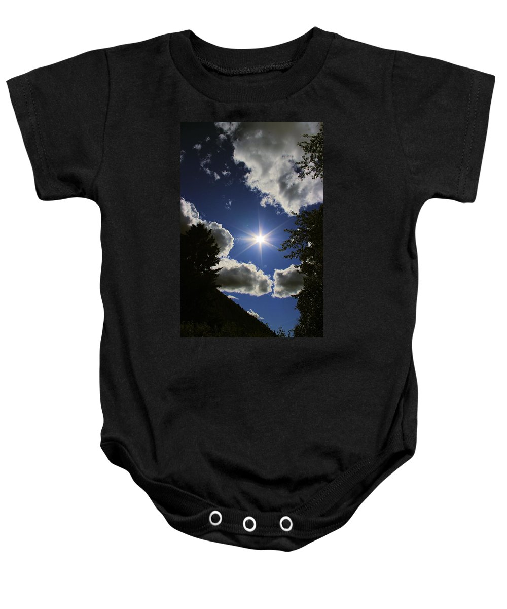 Sky Baby Onesie featuring the photograph Looking Up by John Greaves